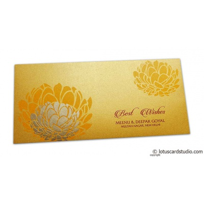 Front view of Lotus Themed Envelope in Shimmer Rich Gold