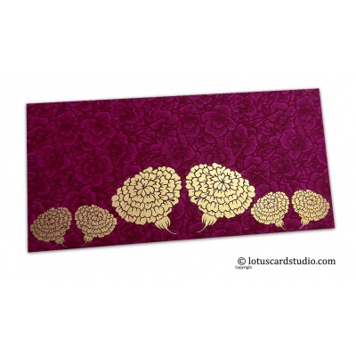 Front view of Magenta Flower Flocked Money Envelope with Golden Dahlia Flowers