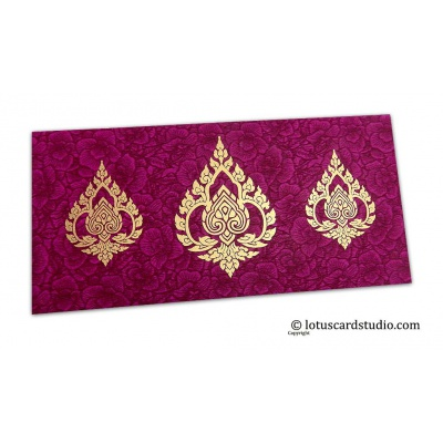 Front view of Magenta Flower Flocked Shagun Envelope with Golden Damasks