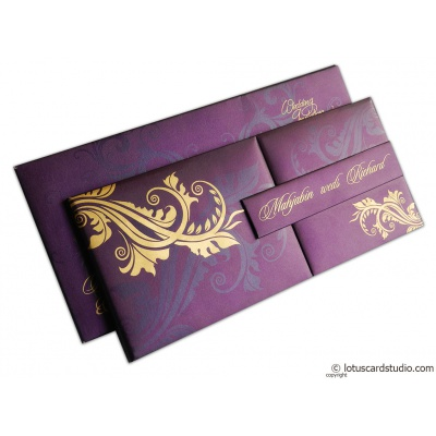 Magnetic Purple Wedding Invitation Card