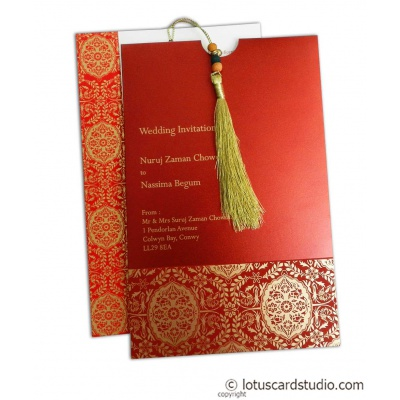 Magnificent Royal Red Wedding Card with Dori - WC_160