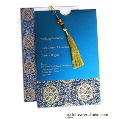 Magnificent Majestic Blue Wedding Card with Dori - WC_163