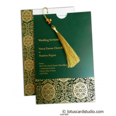 Magnificent Green Wedding Invitation Card with Dori - WC_162