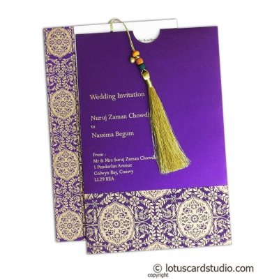 Magnificent Indigo Invitation Card with Dori - IC_30