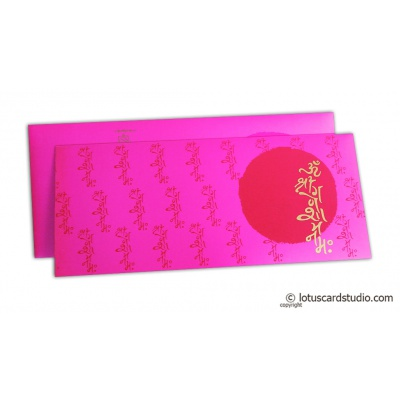 Marriage Invitation in Mexican Pink with Mantras - WC_168