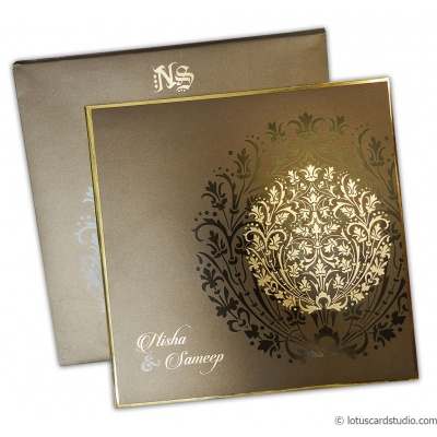 Metallic Crown Wedding Invitation Card - WC_123