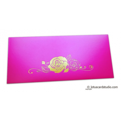 Front view of Mexican Pink Money Envelope with Foiled Rose