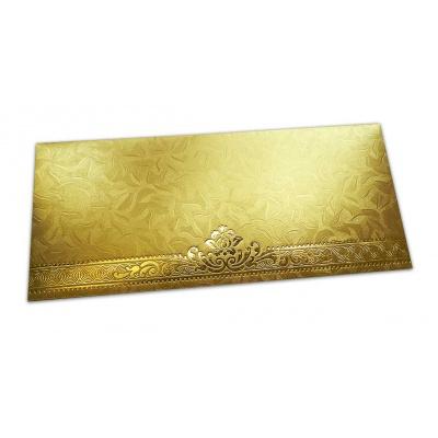 Front view of Golden Money Envelope with Golden Leaf Printed Floral Border