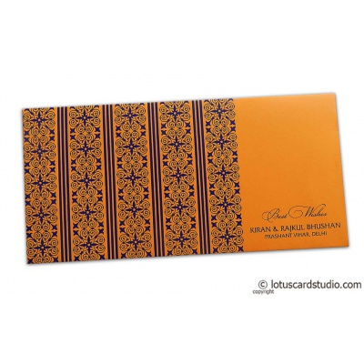 Front view of Shagun Envelope in Amber Orange with Blue Classic Design