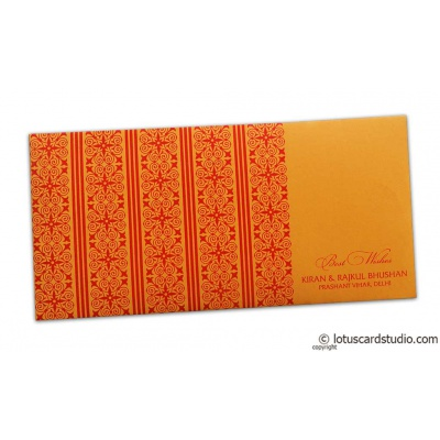 Front view of Shagun Envelope in Amber Orange with Red Classic Design