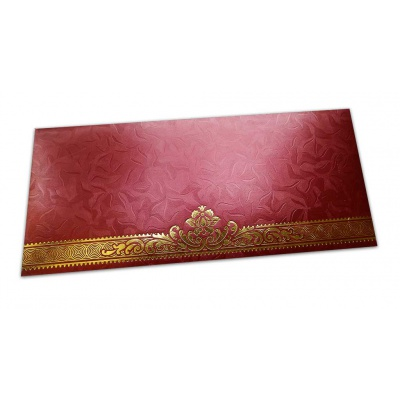 Front view of Red Money Envelope with Golden Leaf Printed Floral Border