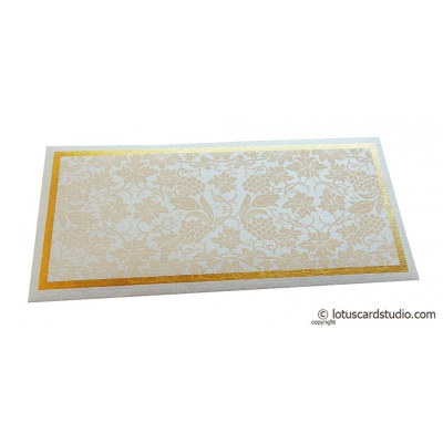 Front view of Money Envelope in Pearl Shimmer Recyclable Paper with Peach Flowers