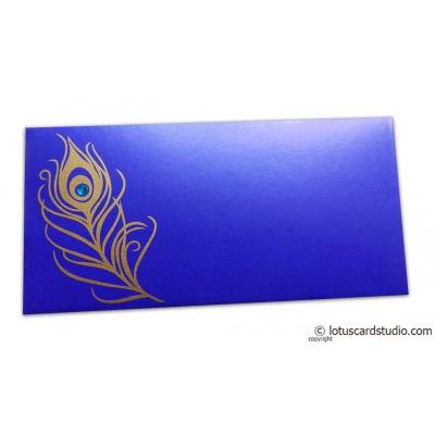 Front view of Mor Pankh Shagun Envelope in Imperial Blue