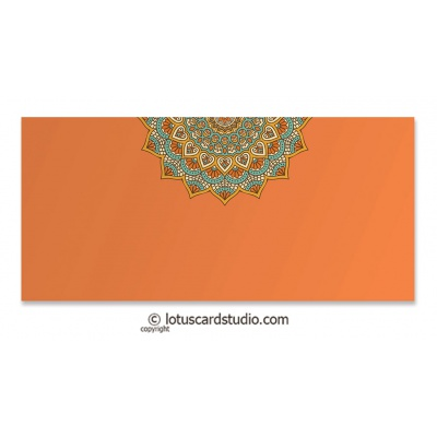 Front view of Orange Gift Envelope with Shaahi Mosaic Art