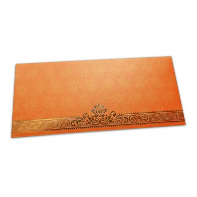 Front view of Orange Money Envelope with Flowers and Golden Floral Border