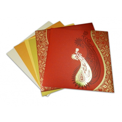 Paisley Theme Classic Red and Golden Wedding Card