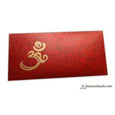 Front view of Om and Paisley Themed Money Envelope in Royal Red