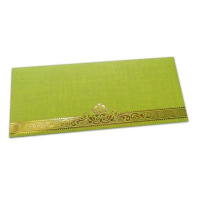 Front view of Parrot Green Shagun Envelope with Golden Leaf Printed Floral Border