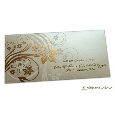 Front view of Perfumed Envelope with Golden Floral Design