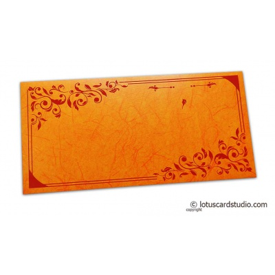 Front view of Perfumed Designer Money Envelopes in Orange Yellow with Foiled Rose