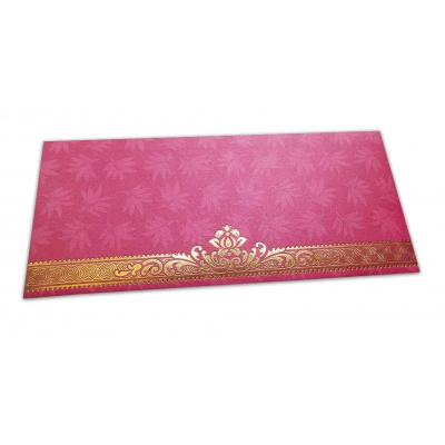 Front view of Pink Money Envelope with Flowers and Golden Floral Border