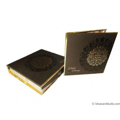 Pure Golden Brown Boxed Wedding Invite - WC_106