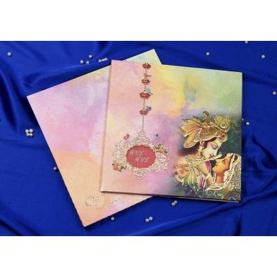 Radha Krishna Theme Colorful Wedding Card