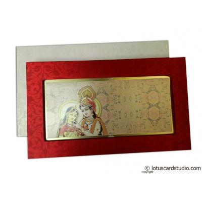 Radha Krishna Boxed Style Wedding Invitation - WC_157