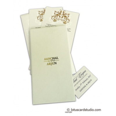 Ravishing Perfumed Wedding Invitation in American Folk with Golden Metallic Wordings