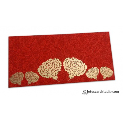Front view of Red Flower Flocked Money Envelope with Golden Dahlia Flowers