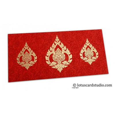 Front view of Red Flower Flocked Shagun Envelope with Golden Damasks