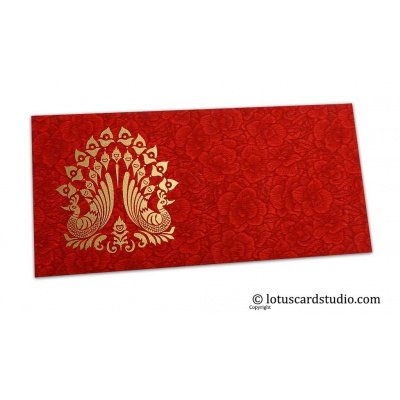 Front view of Red Flower Flocked Shagun Envelope with Blue Peacocks