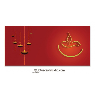 Front view of Red Gift Envelope with Designer Diyas