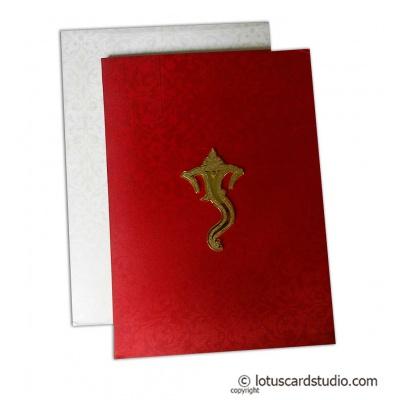 Red Satin Wedding Card with Ganesha - WC_172