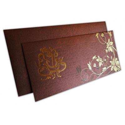 Reddish Brown Ganesh Indian Wedding Invitation - WC_129