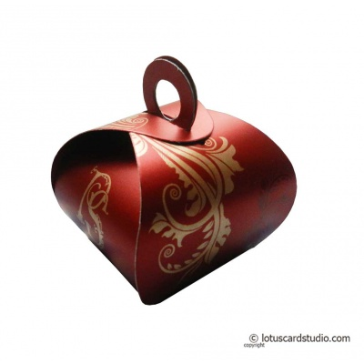 Folded view of Favor Box in Royal Red with Floral Design - FB_01