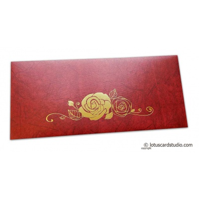 Front view of Perfumed Designer Shagun Envelopes in Royal Red with Foiled Rose