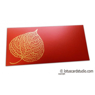 Front view of Royal Red Shagun Envelope with Golden Leaf