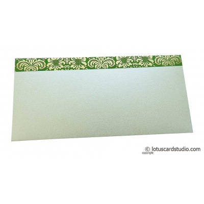 Front view of Shagun Envelope in Pearl Shimmer with Golden Flowers on Green