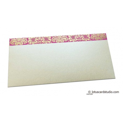 Front view of Shagun Envelope in Pearl Shimmer with Golden Flowers on Pink