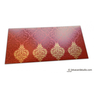 Front view of Shagun Envelope in Royal Red with Glossy and Golden Floral Design