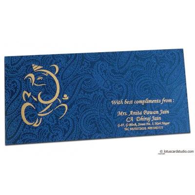 Front view o fShagun Envelope in Sapphire Blue Satin Fabric