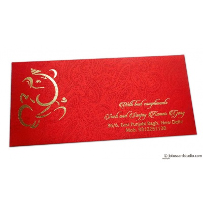 Front view of Shagun Envelope in Classic Red Satin Fabric