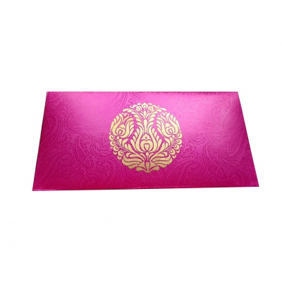 Front view of Mexican Pink Money Envelope with Golden Crown Flower