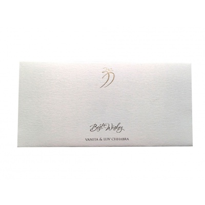 Front view of Signature Money Envelope with Hot Foil Stamped Om