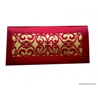 Front view of Signature Laser Cut Satin Shagun Envelope in Royal Red