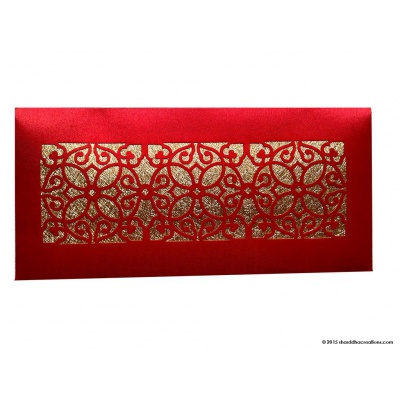 Front view of Signature Laser Cut Satin Shagun Envelope in Classic Red