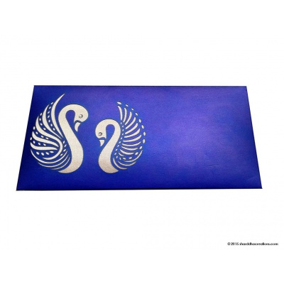 Front view of Sapphire Blue Money Envelope with Laser Cut Swans
