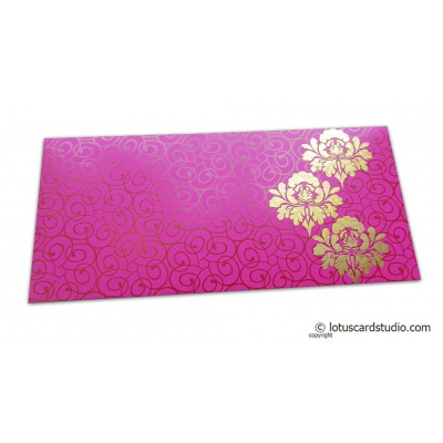 Front view of Shagun Money Envelope with Swirl Design and Golden Flowers on Mexican Pink