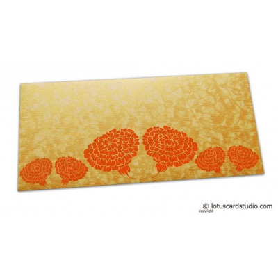 Front view of Dahlia Flowers on Golden Shimmer Texture Shagun Envelope
